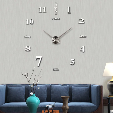 Εντυπωσιακό Τρισδιάστατο Ρολόι Τοίχου 120 x 120 εκ - Ασημένιο