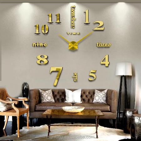 Εντυπωσιακό Τρισδιάστατο Ρολόι Τοίχου 120 x 120 εκ - Χρυσό