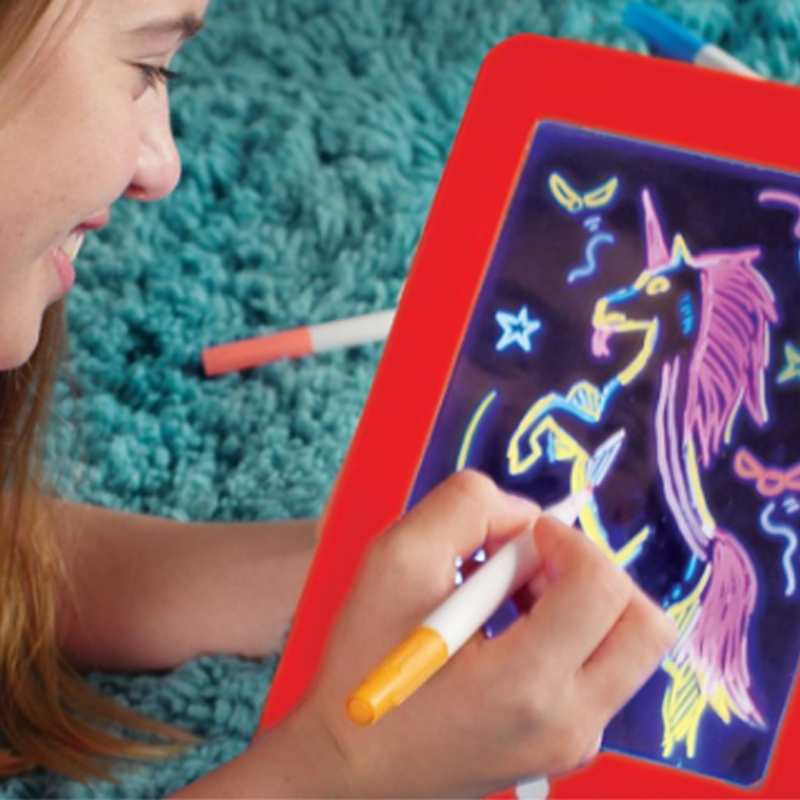 3D Magic Sketchpad, Φορητός Πίνακας Ζωγραφικής Glow Drawing Pad για παιδιά 3 έγχρωμες πένες