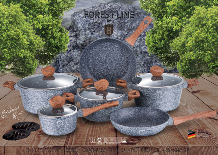 Berlinger Haus Forest Line BH-6198 Cookware Set 18 Piece Granite Non-Stick Coating